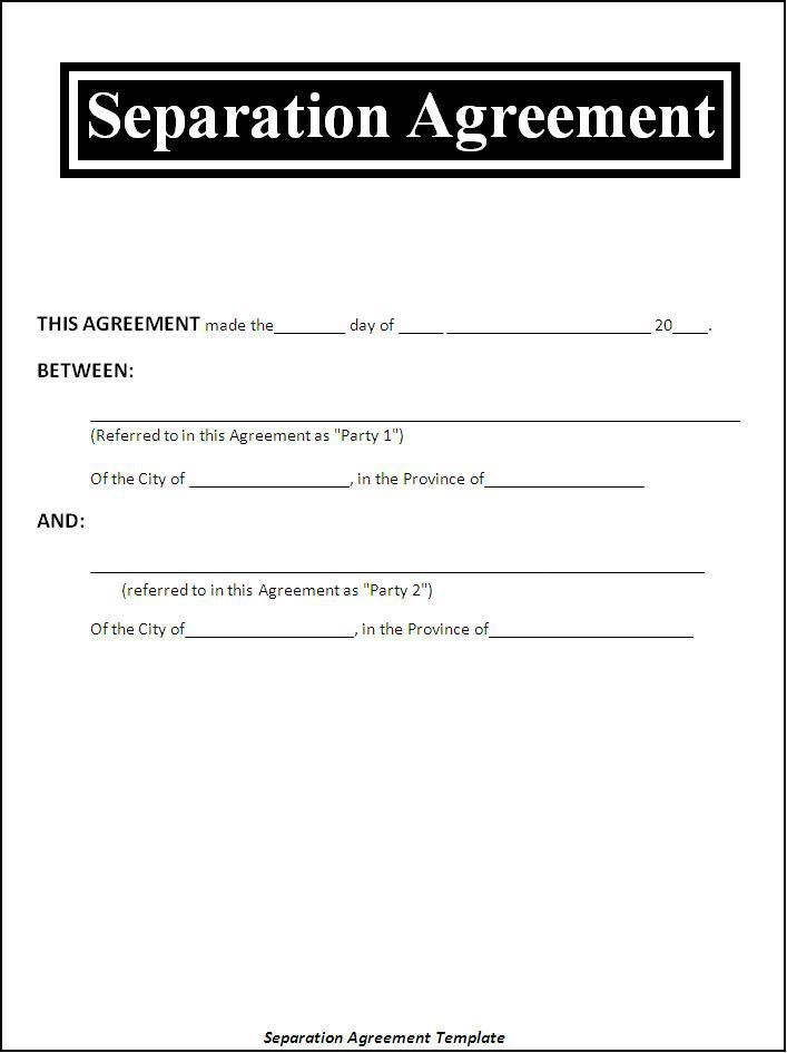 Image Result For Sample Separation Agreement Template Legal