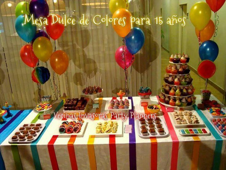 Decoracion fiesta juvenil colorida buscar con google - Mesa cumpleanos adulto ...