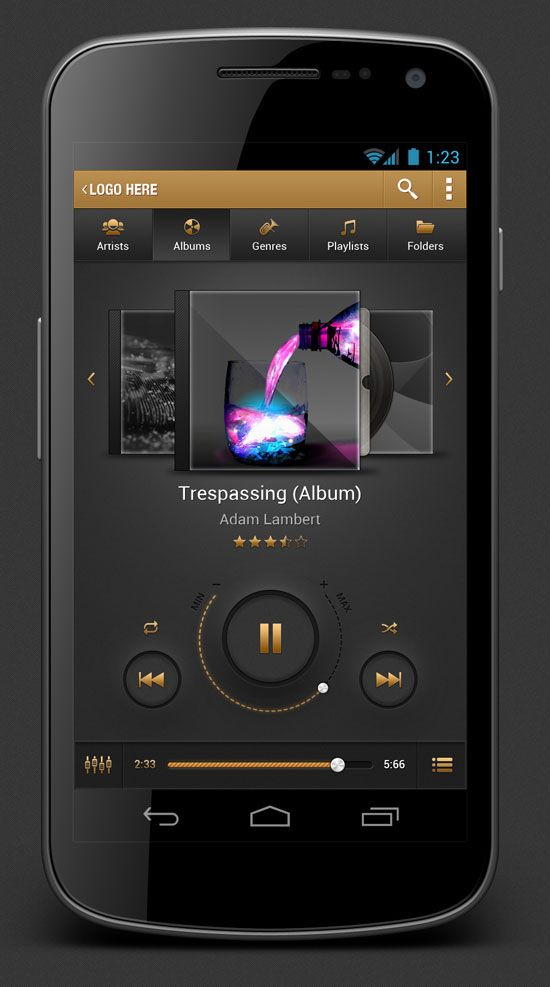 Android Music Player App User Interface Design | Web