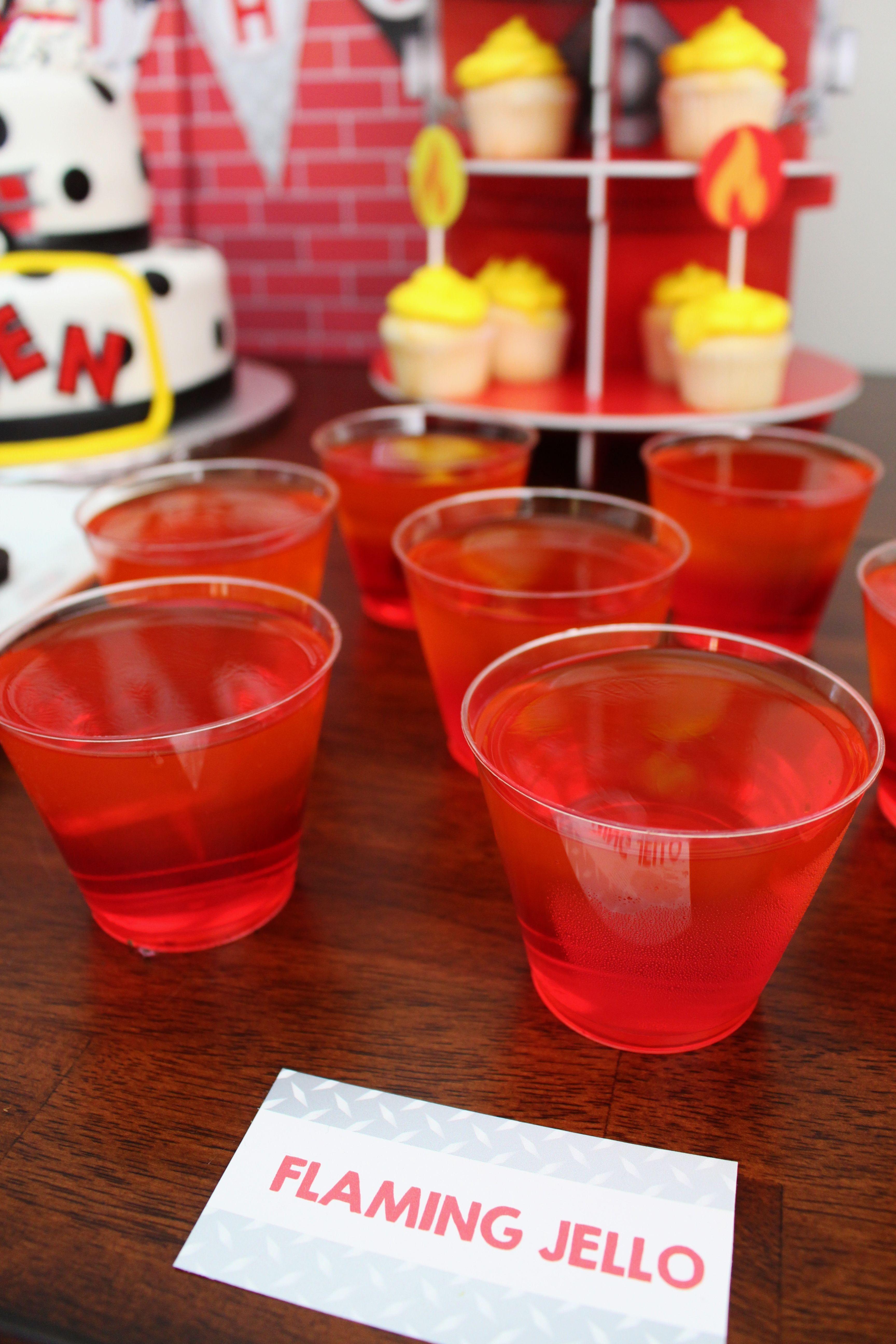 "Fireman theme birthday party decor; firetruck theme birthday party decor; ""Flaming Jello"" snack cups"