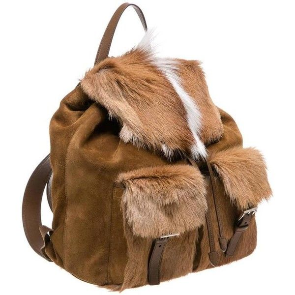 2db6d498a69d Preowned Prada Brown And White Suede And Springbok Fur Backpack ($2,995) ❤  liked on Polyvore featuring bags, backpacks, white, backpack bags, brown ...