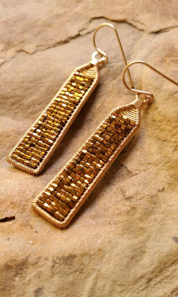 Analise Earrings In Bronze Myuki Seed Beads and 14K Gold Fill Fall 2014 Pantone Colors. Made to order.