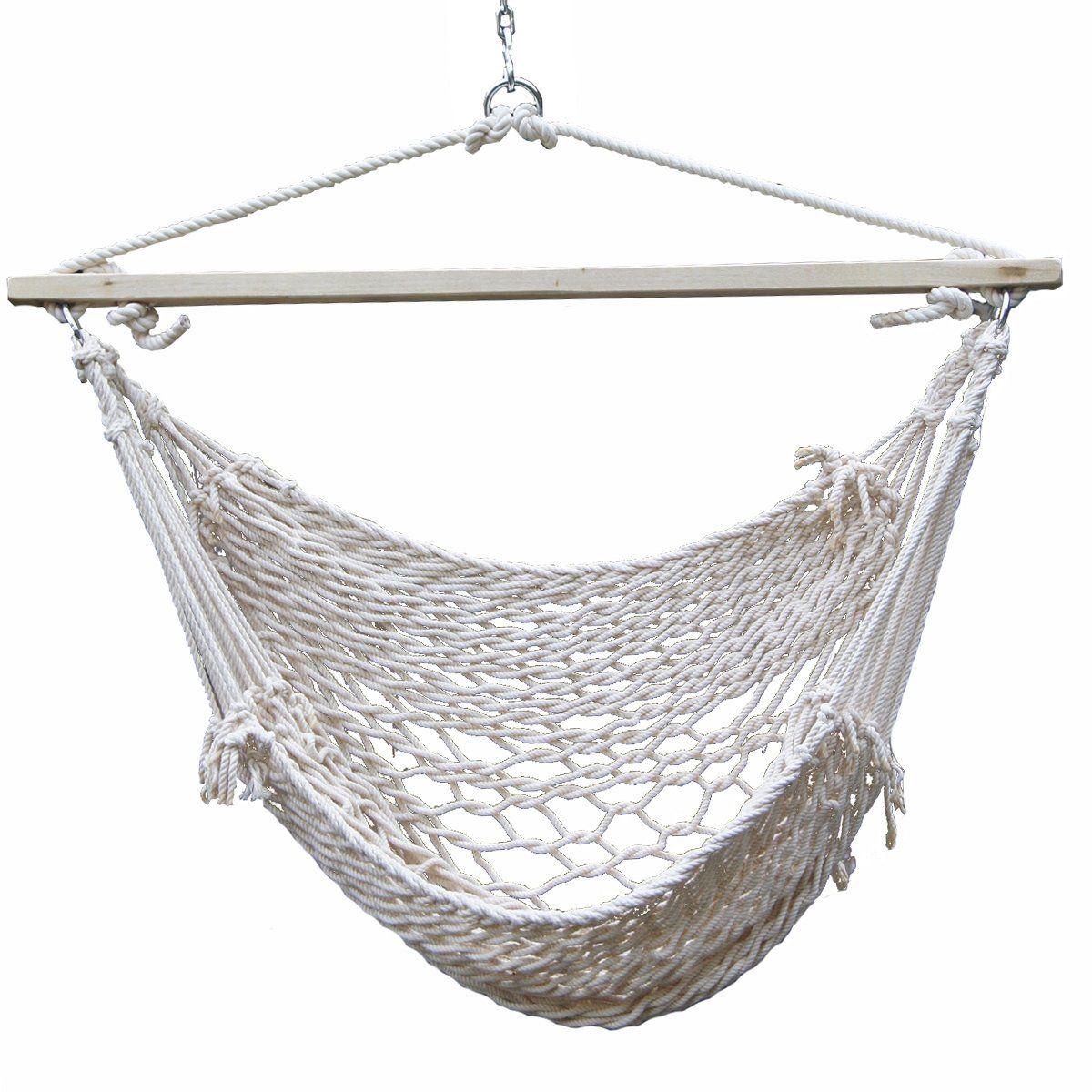 Prime garden deluxe cotton rope swing chair hand woven hammock