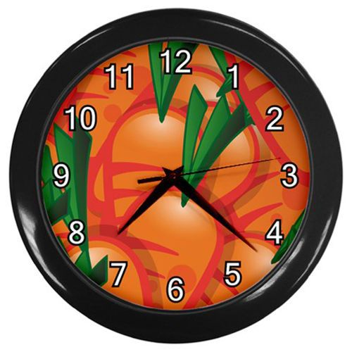 Carrots Pattern Plastic Black Frame Battery Operated Novelty Kitchen Wall Clock Custommade