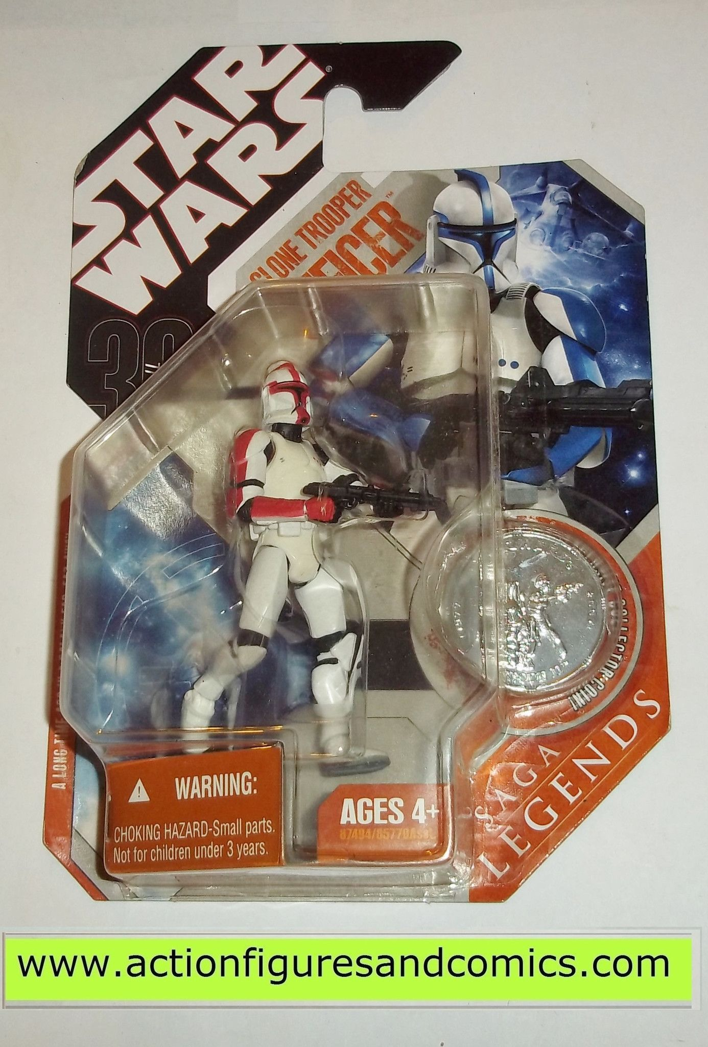 star wars action figures CLONE TROOPER OFFICER red 30th