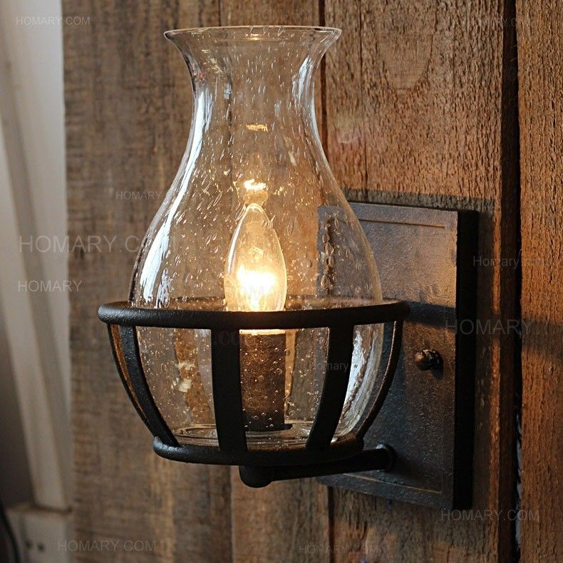 Jar Shaped Seeded Glass Single Candelabra Light Bulb Wall Lamp Metal Backplate Wall Lights Glass Wall Lights Rustic Wall Sconces