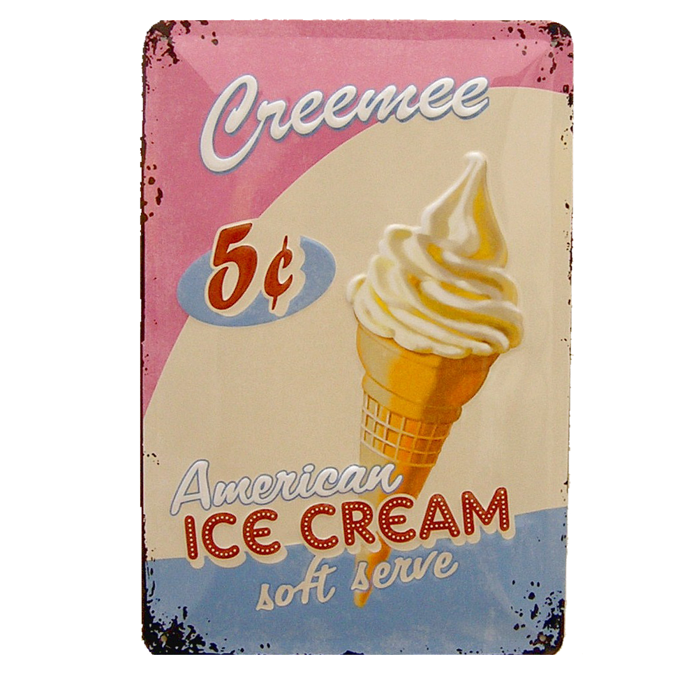 Cartel met lico r plica del original cartel publicitario de ario american ice cream en metal de - Carteles publicitarios originales ...