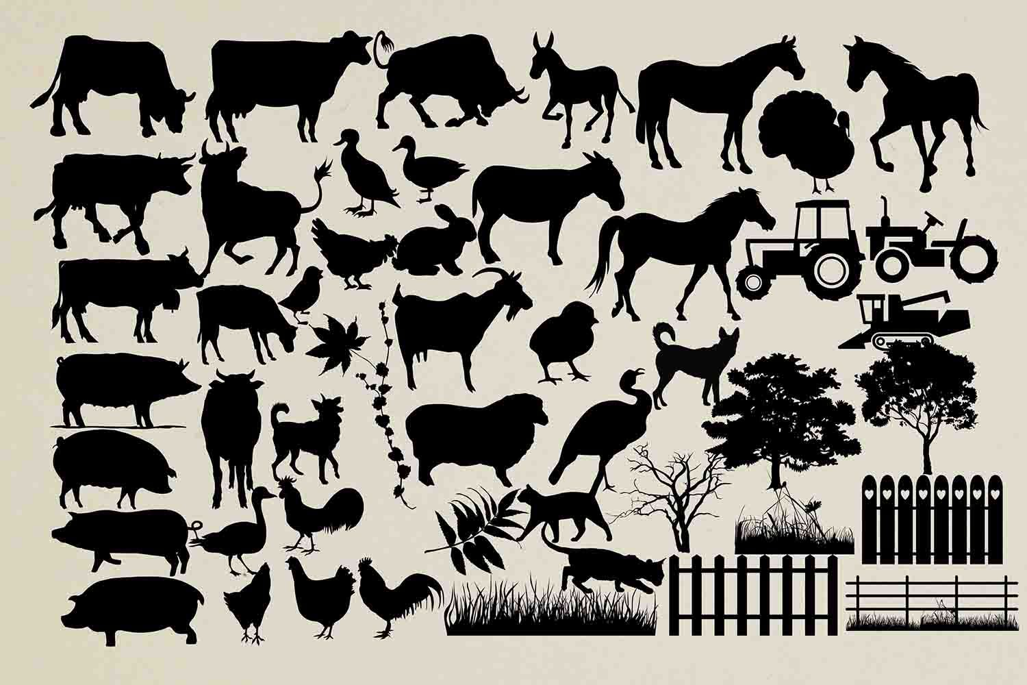 Farm animal silhouettes Animal silhouette, Farm animals