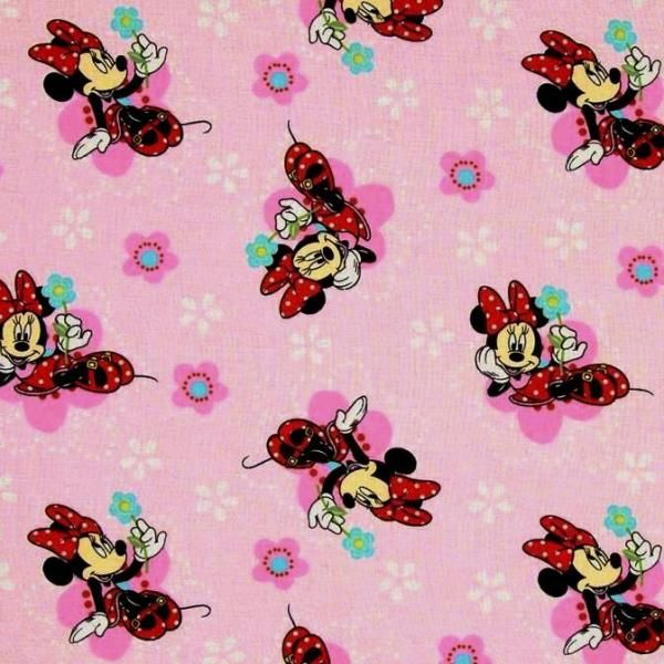 Disney Minnie Mouse And Flowers On Pink Cotton Fabric Minnie Mouse Fabric Cotton Quilting Fabric Minnie Mouse Pink