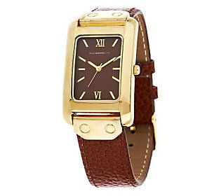 Isaac Mizrahi Live! Leather Strap Watch with Rectangle