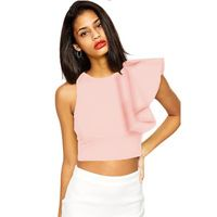 Summer Fashion Ladies Sexy Solid Color Stylish Crop Tops Blouse Vintage One Shoulder Butterfly Sleeve Shirt Casual tops Y00048