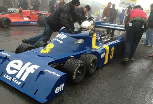 Classic six-wheel elf Tyrrell Formula 1 car from the 1970s, one of several behind-the-scenes snaps taken by director Ron Howard on location while filming his F1 movie Rush.