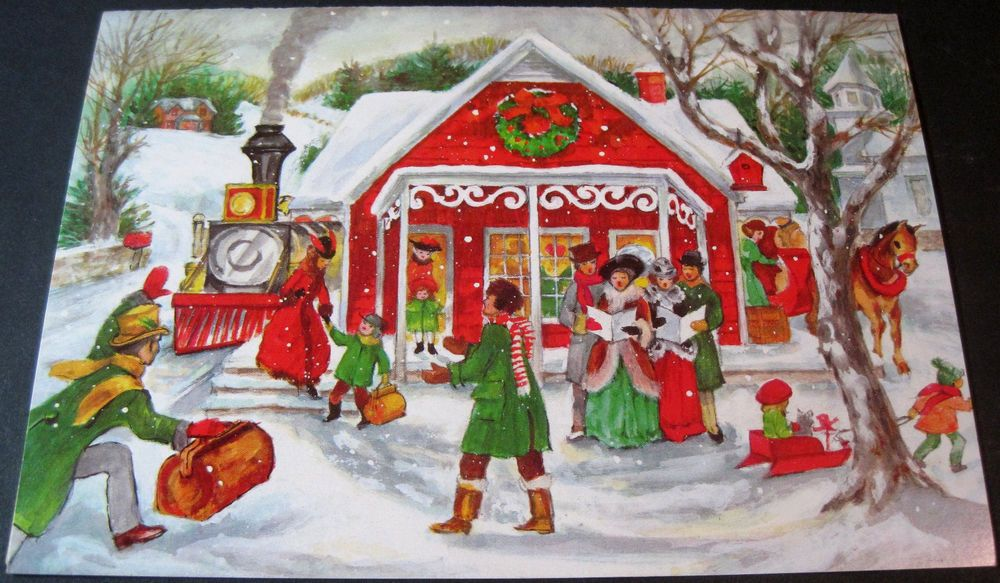 Used Vintage Christmas Card Carolers in Old Fashioned Christmas Scene with Train