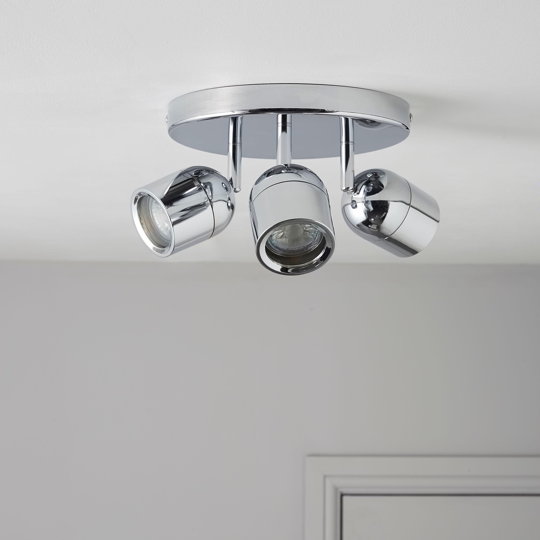 Light fittings for bathrooms - Genlis Chrome Effect 3 Lamp Bathroom Spotlight