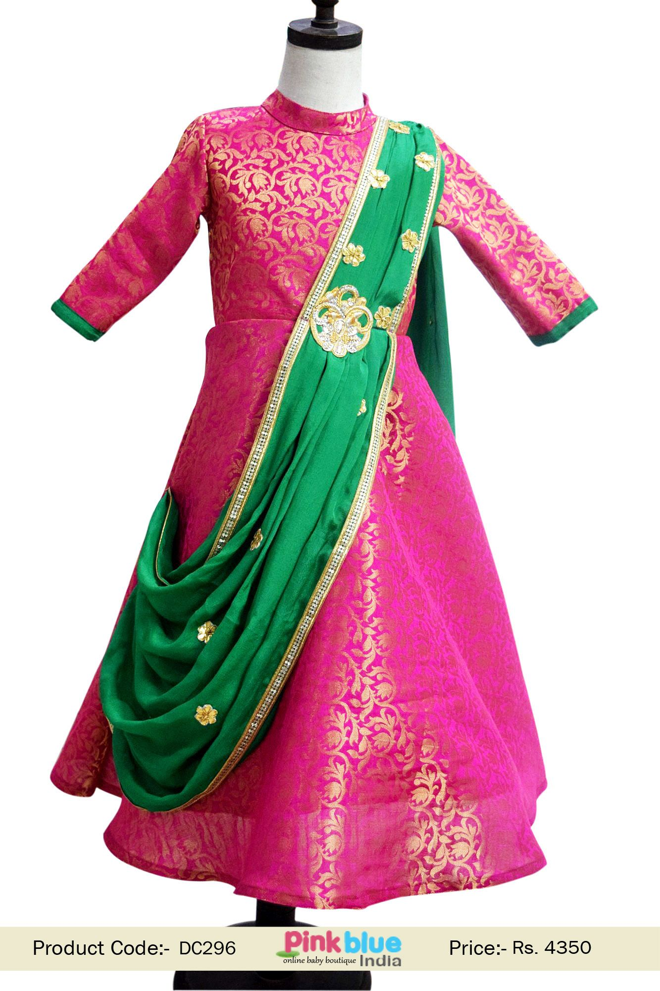 bdba3580 Designer kids ethnic wear in pink color - Exclusive Baby Girl Indo western  style gown for indian weddings and festivals. customized dress #ethnicwear  ...