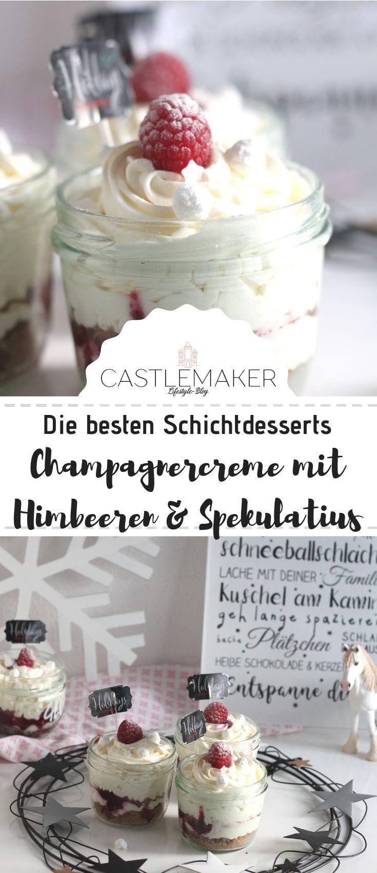 Champagnercreme Schichtdessert im Glas // Dessert Rezept #cupcakesrezepte
