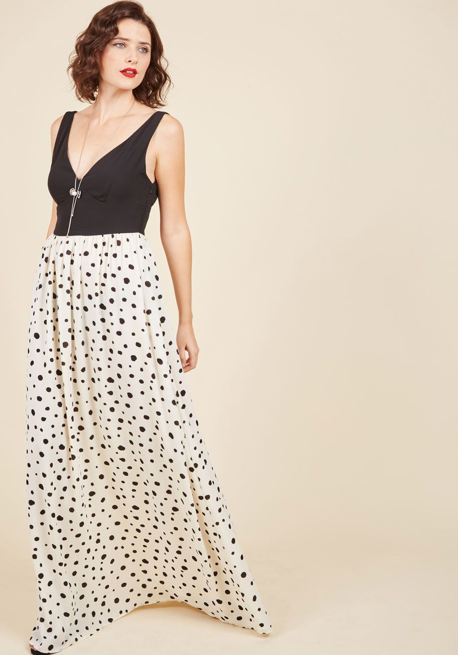 Black and white dresses for wedding guests  Nights of Fancy Maxi Dress in Dots  Long Black White Polka Dots