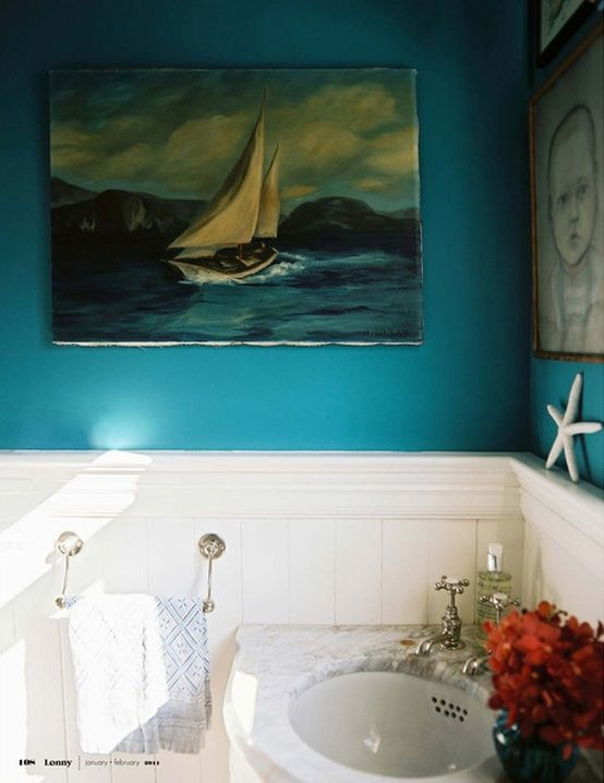 Turquoise bath with marble sink from Lonny magazine.   Rooms 2013 ...