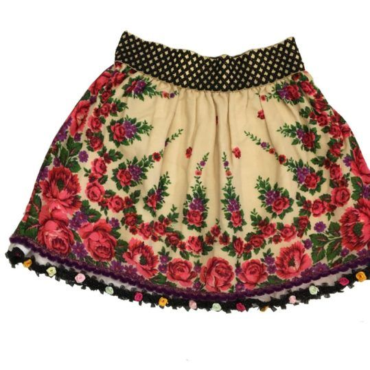 nouă de unde să cumperi preț rezonabil Fusta traditionala din Marmures. Fusta alba cu flori roz si mov ...