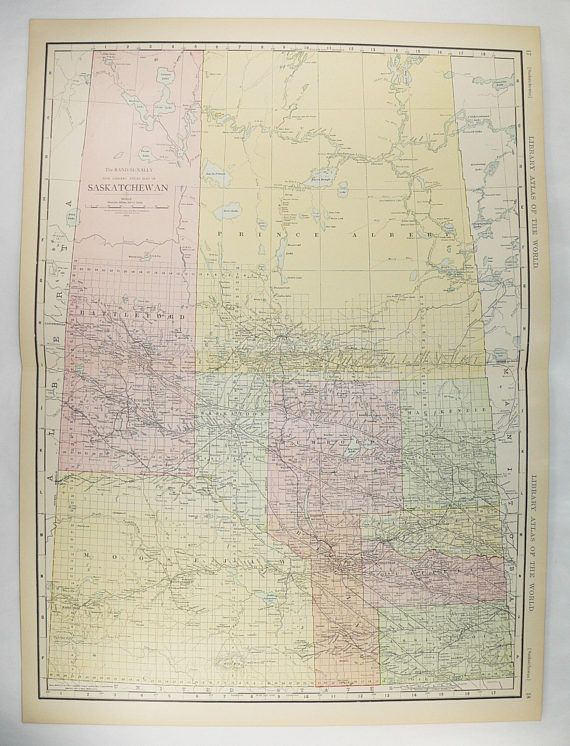 Large Old Map Saskatchewan Canada 1912 Saskatchewan Map Large