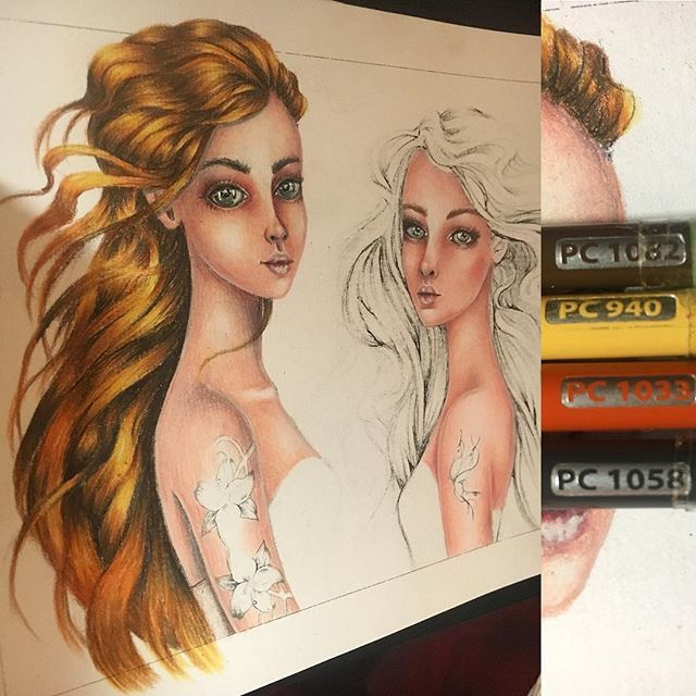 Natural Red Head Hair Color Combination using prismacolor ...