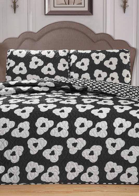 Duck River Textile McCubbins 3-Piece King Bedspread Set - Black White images
