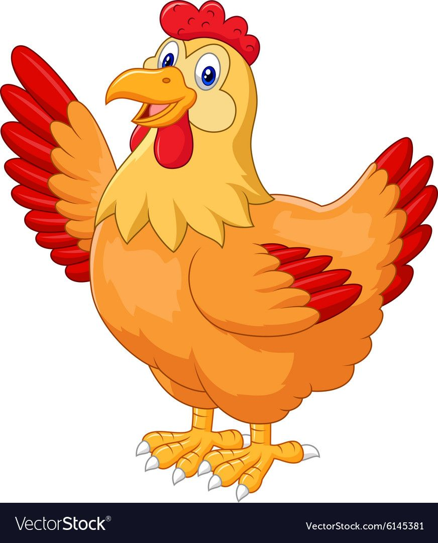 Illustration Of Chicken Hen Waving Hand Download A Free Preview Or High Quality Adobe Illustrator Ai Eps Pdf A Cartoon Chicken Chicken Vector Funny Wall Art
