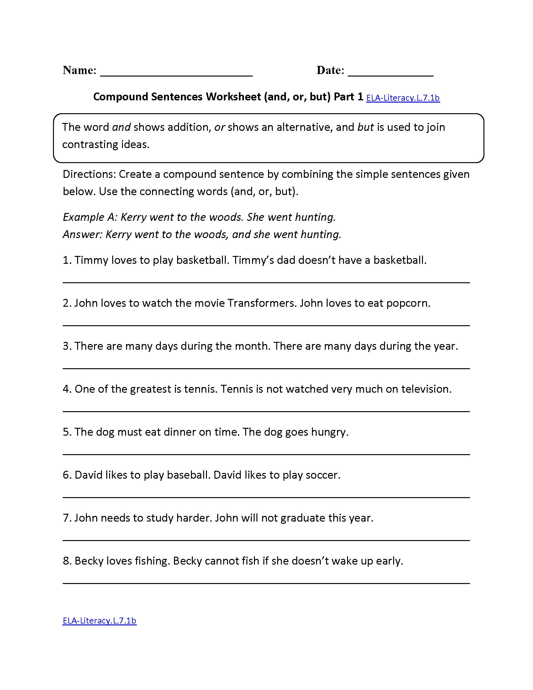 Compound Sentences Worksheet Ela Literacy L 7 1b Language