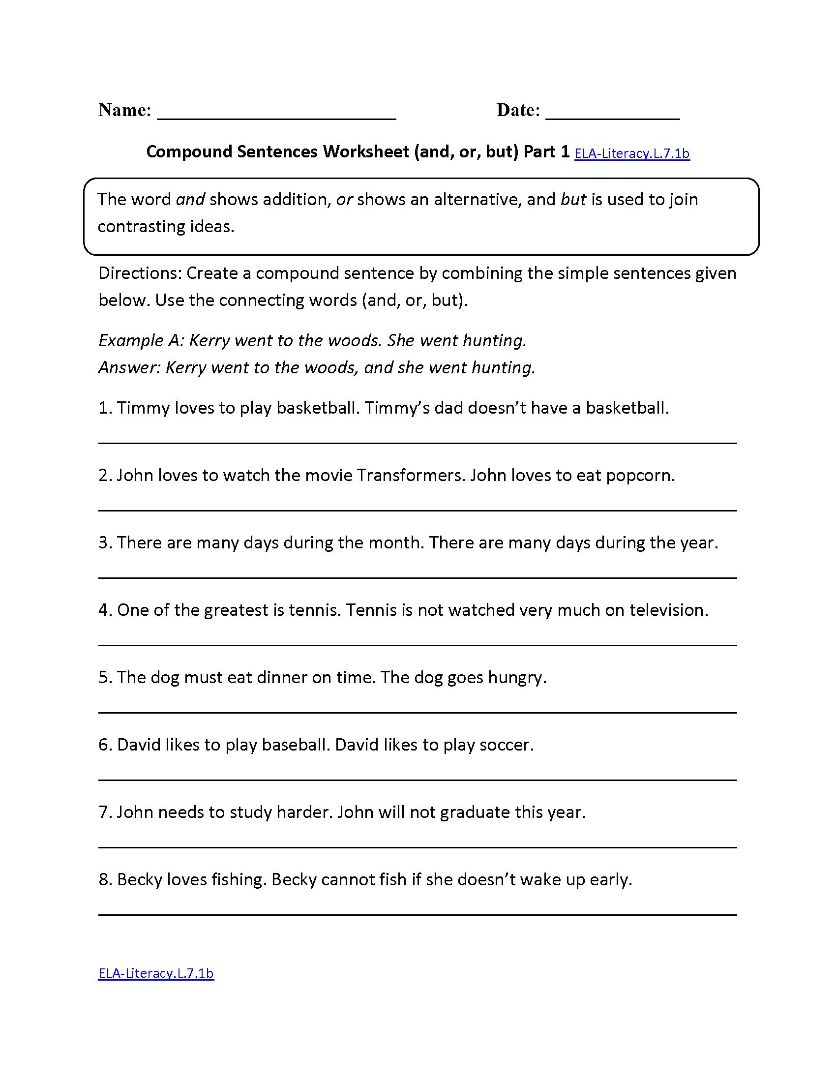 Compound Sentences Worksheet ELA-Literacy.L.7.1b Language ...