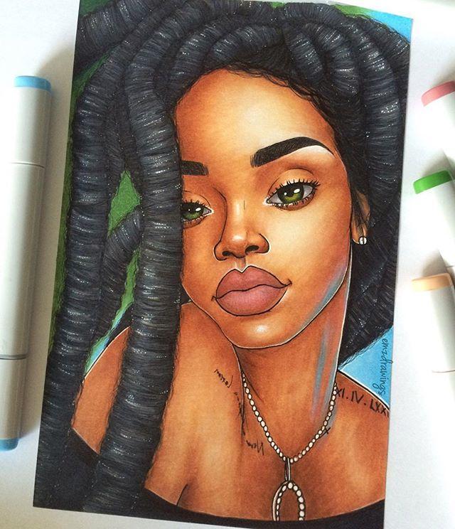 Badgalriri Rastafarih Rihanna Fan Art Locs Dreads Dreadlocks Black Girl Magic Art Black Girl Art Black Women Art