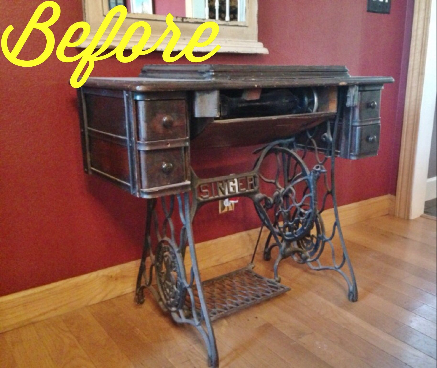 Repurposed Antique Sewing Machine