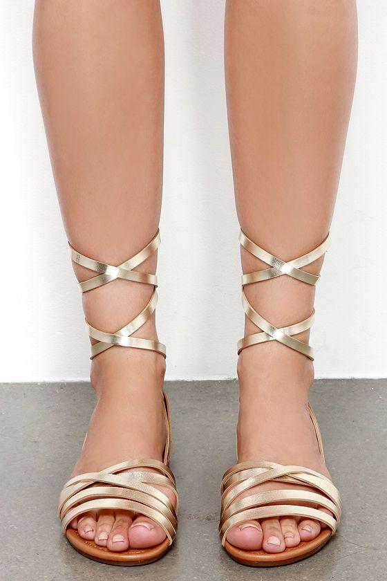 093e1c686e49ee Desert Highness Champagne Gold Leg Wrap Sandals at Lulus.com!