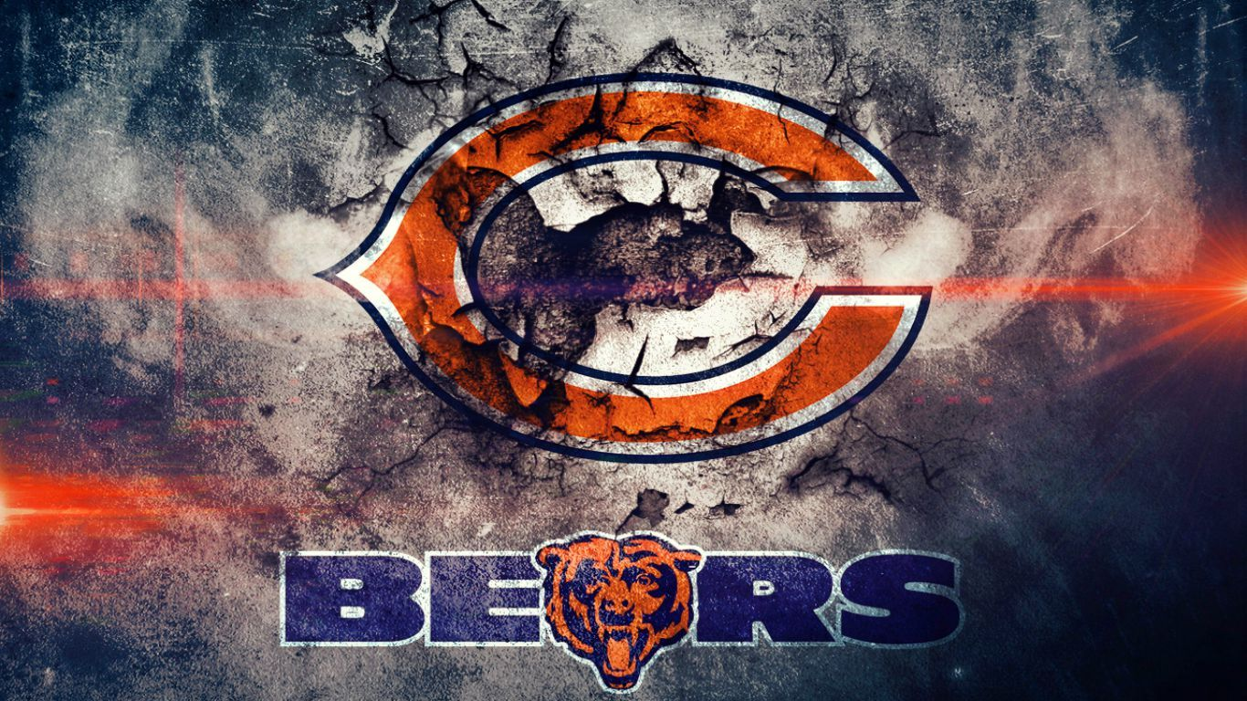Free Cool Chicago Bears Wallpaper Cracked Wall Jpg 1366 768 Chicago Bears Wallpaper Chicago Bears Logo Chicago Bears