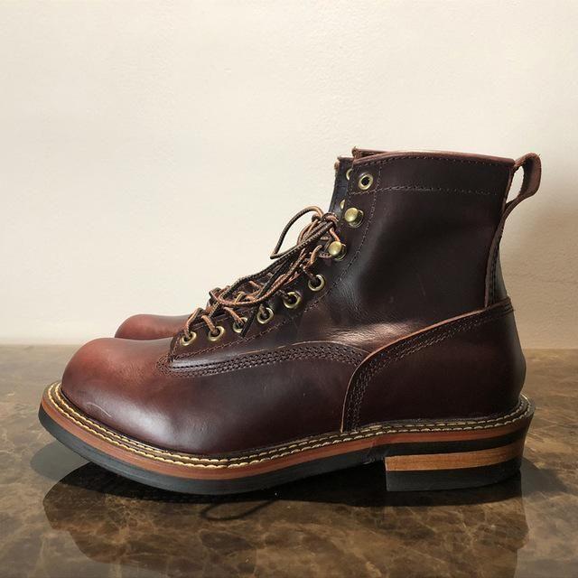 c891297e1f2ab Unisex Handmade Vintage Lace-Up New Genuine Leather Platform Men ...