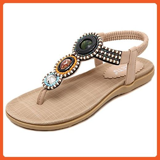 15621065b05 Summerwhisper Women s Boho Style Beaded Beach Thongs Comfort Flats Sandals  Beige 4 B(M) US - Sandals for women ( Amazon Partner-Link)