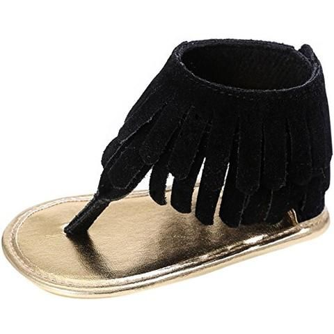 e49196ffea44 Baby Girl Summer FRINGE Thongs Sandals Fringed Moccasins Soft Moccs ...
