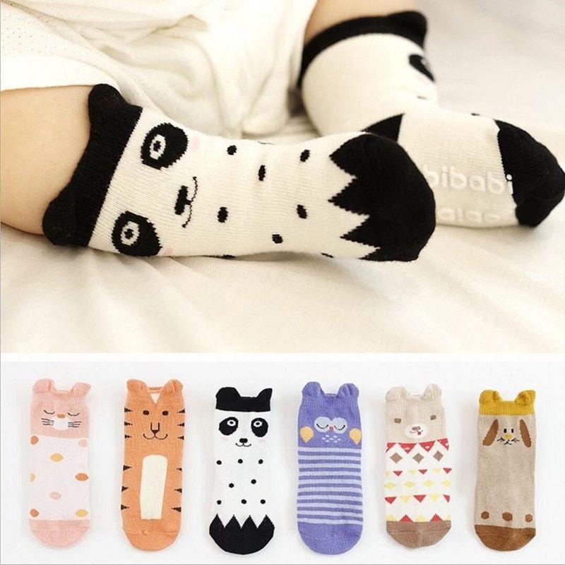 Baby Socks Unisex Infant Knee Leg Length Socks Toddler Cartoon Anti-skid Socks