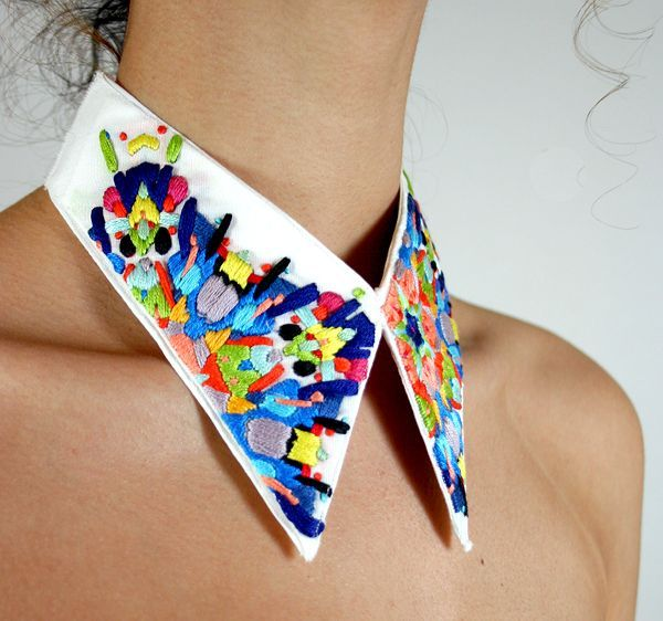 Brightly embroidered, oversized collar