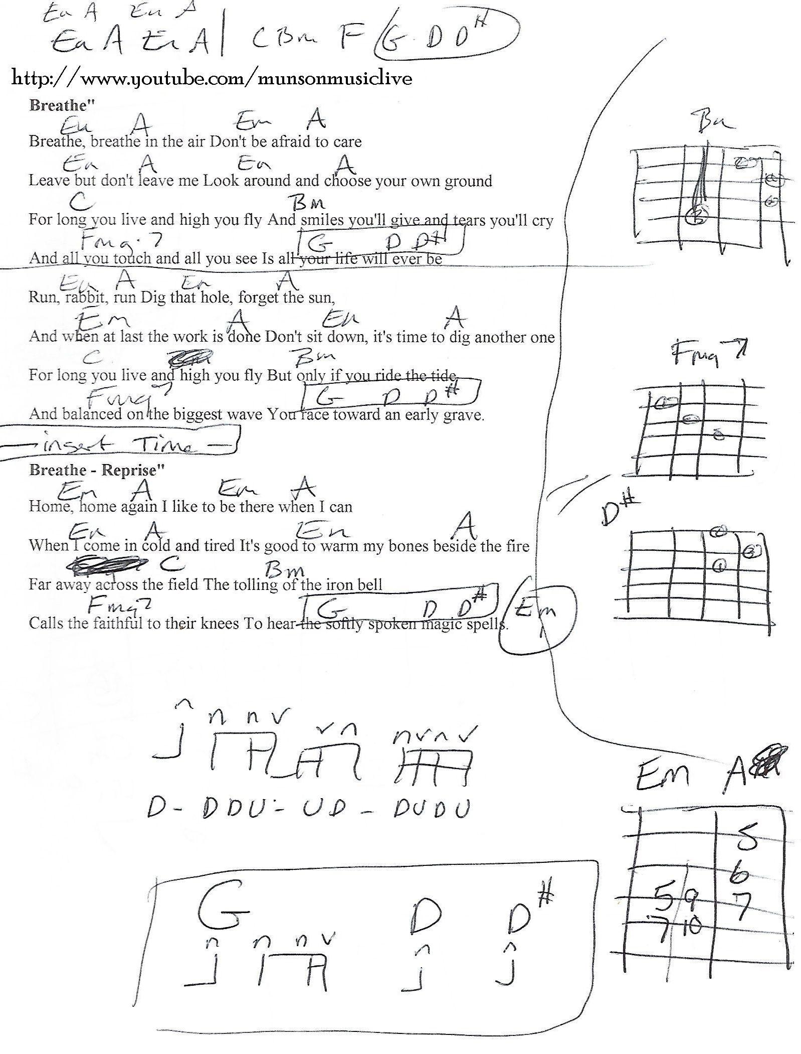Breathe Pink Floyd Guitar Chord Chart Guitar Lesson Chord Charts