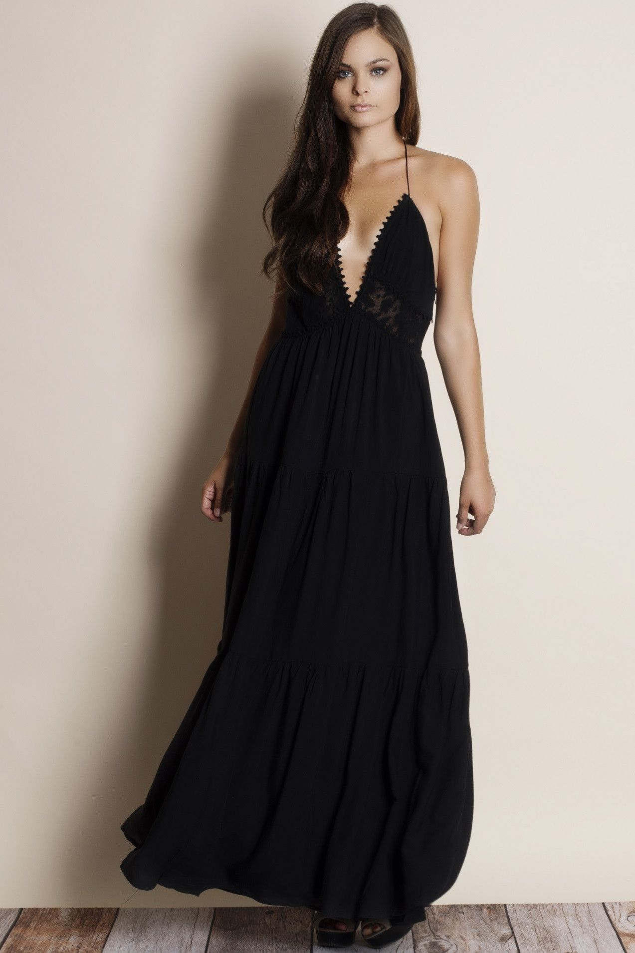 Infinity T-back Lace Insert Maxi Dress