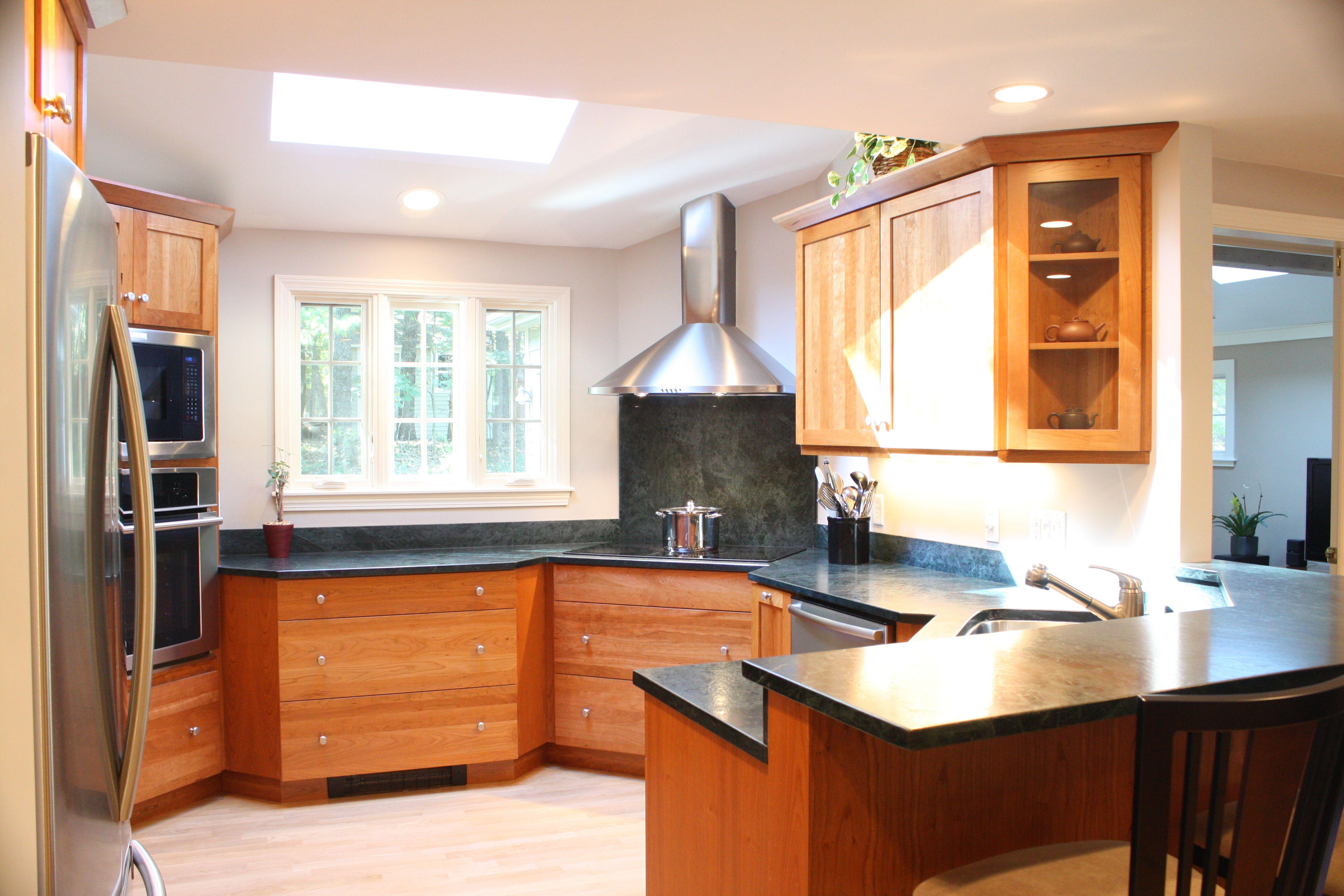 Cherry Wood Cabinet Kitchens Stainless steel appliances corner