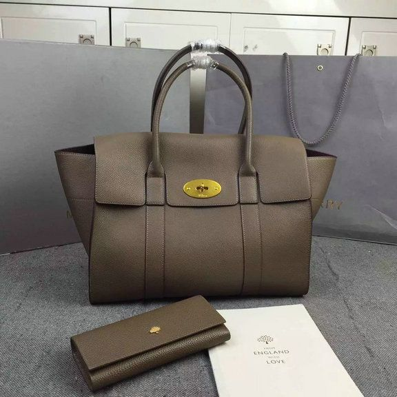 200714715b Latest Mulberry New Bayswater Tote Clay Natural Grain Leather