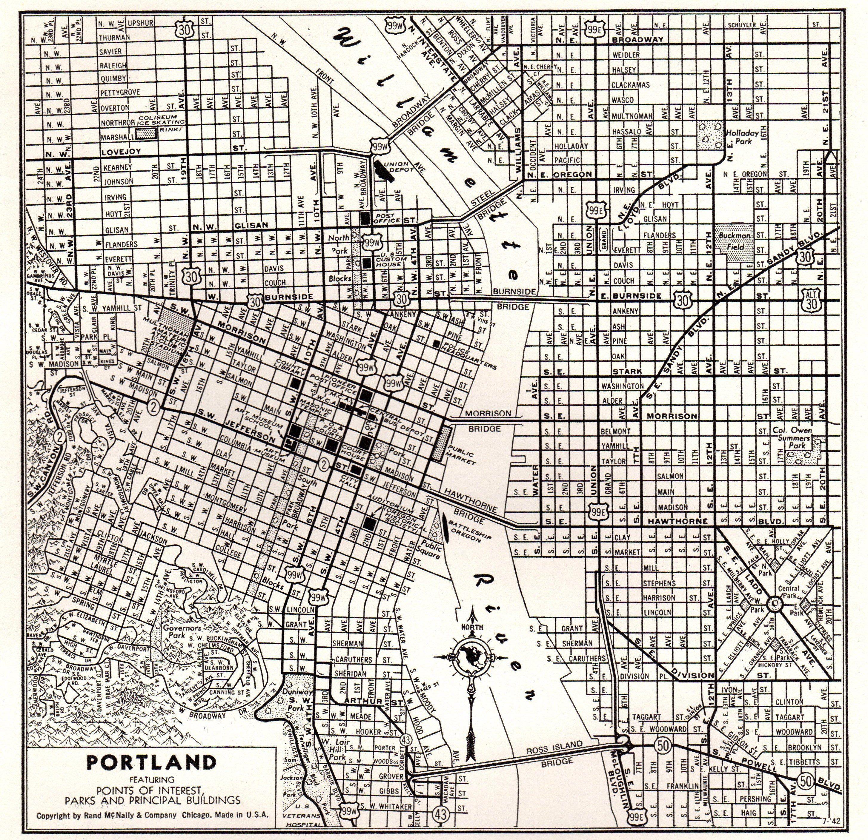 1949 Vintage PORTLAND Map of Portland Oregon Map Black and White ...