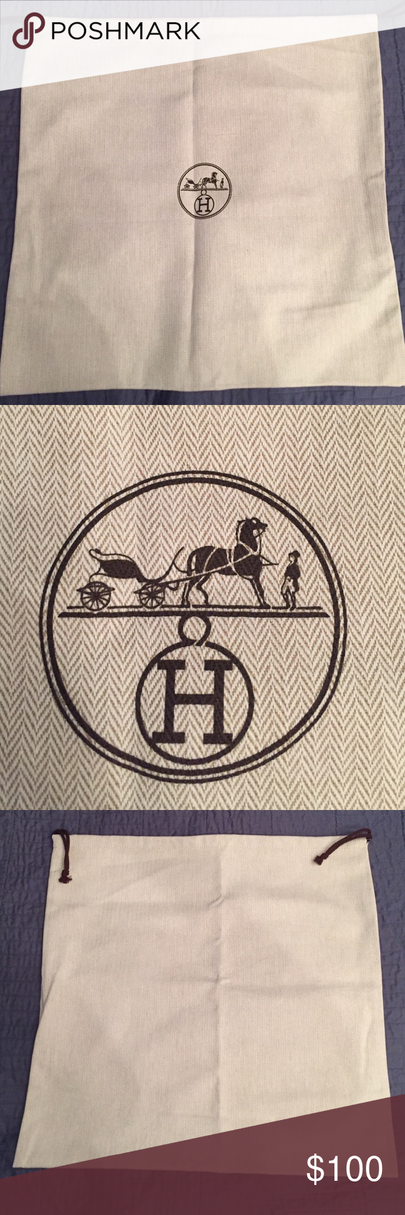 Brand New Authentic Hermes Dust Bag Fits 32cm Kelly Or 30cm Birkin Bags Totes