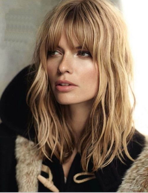 High Forhead Shaped Face With Extra Light Beige Blonde And Long Bob Hairstyles With Curtin Bangs Jpg 500 65 Langhaarfrisuren Frisur Pony Lang Frisuren Mit Pony