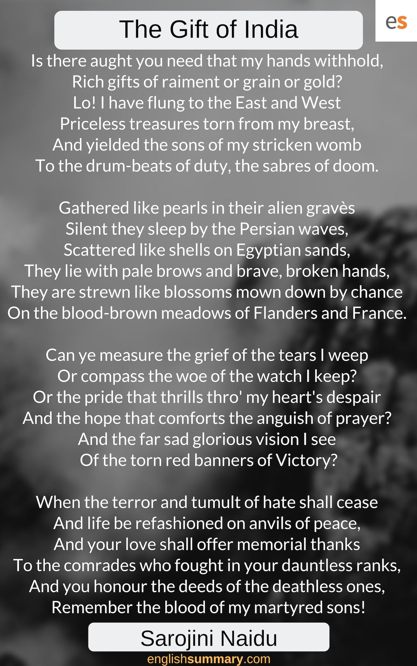 The Gift Of India Poem By Sarojini Naidu Patriotic In English Dawn Awake Explanation