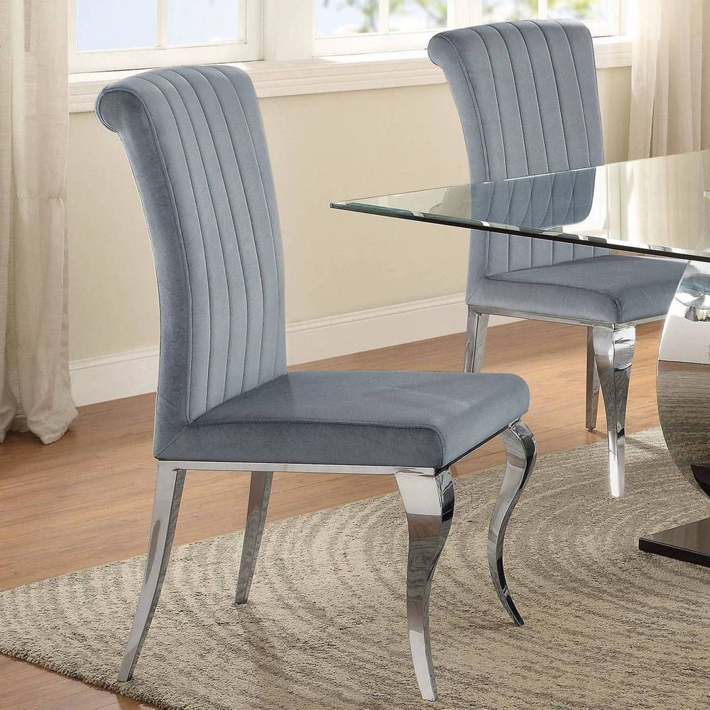 Cabriole design stainless steel with grey silver velvet