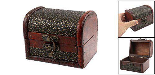 1 X Bronze Tone Embossed Flower Old Stye Wooden Jewelry Box Case - Treasure Box