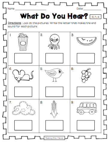 What Do You Hear Ending Sound Printables No Prep Kindergarten Worksheets What Do You Hear Worksheets