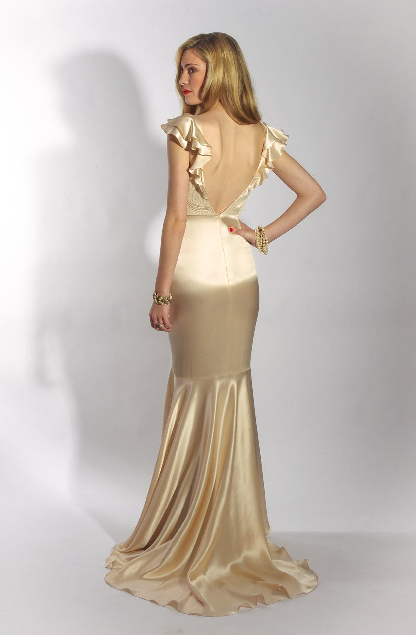 The pearly dress by belle u bunty london back view of blush silk